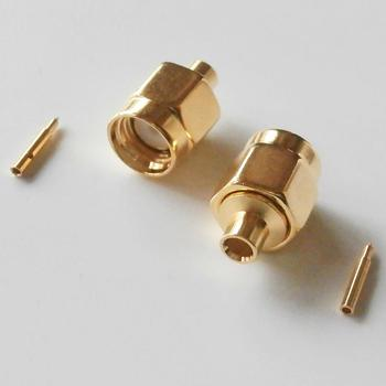 1X Pcs Connector SMA Male plug Solder For Semi-Rigid RG405 0.086 Cable Coax Jack Brass GOLD Plated Straight RF Adapters image