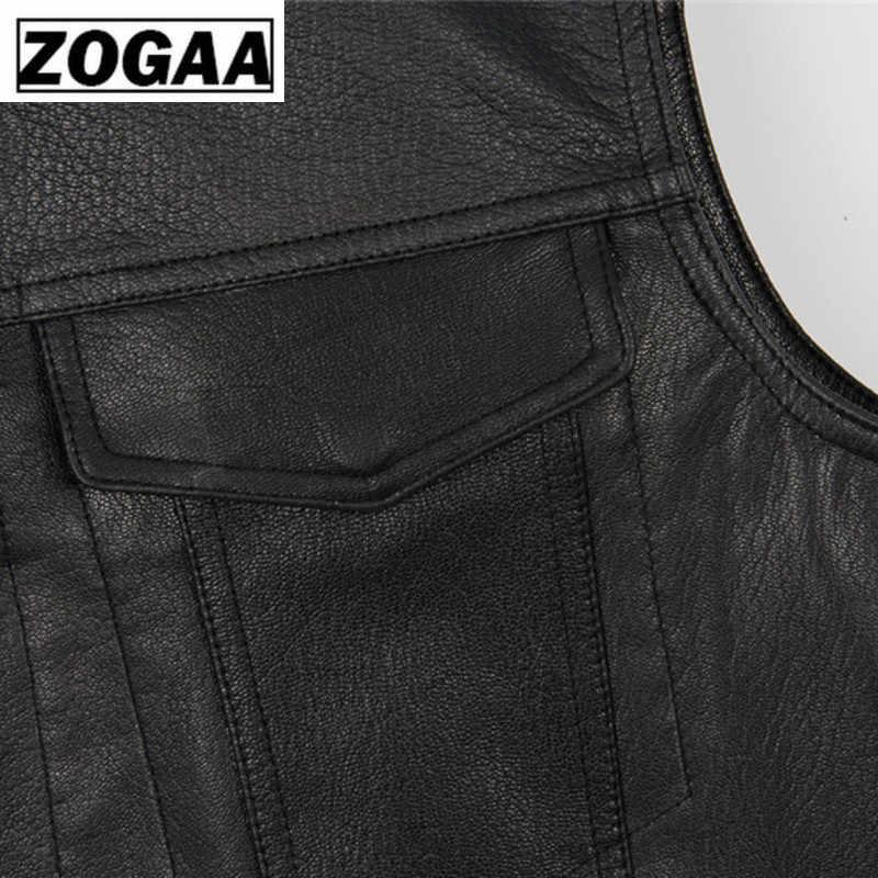 Zogga 2019 Pria Rompi Hitam Sepeda Motor Biker Hip Hop Rompi Pria Faux Kulit Punk Hitam Solid Musim Semi Tanpa Lengan Rompi Kulit