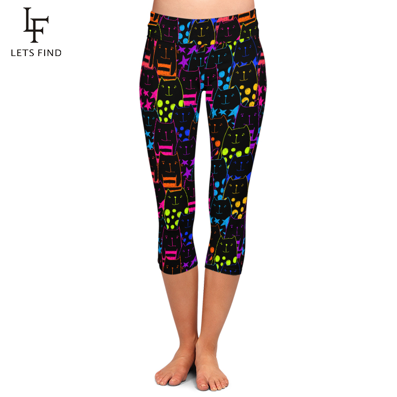 LETSFIND Fluorescent Cartoon Cat Digital Print Women Capri Leggings High Waist Plus Size Mid-Calf 3/4 Stretch Women Leggings