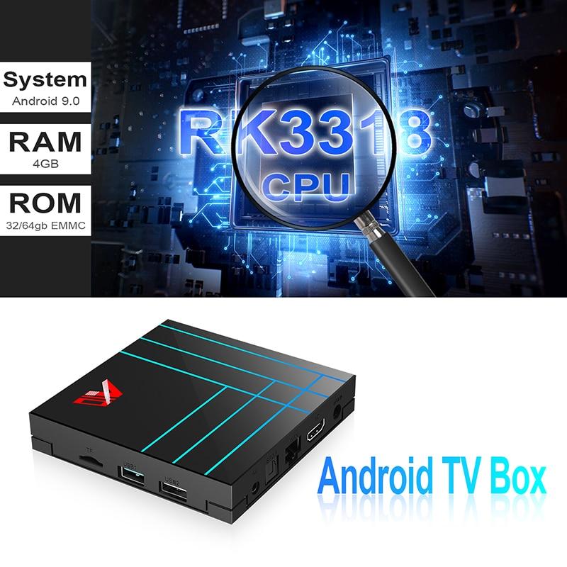 Smart TV Box Android 9 9,0 Set Top Box 4K RK3318 Quad-Core Penta-Core Mali-450 RKMC Media Player 4G 64G