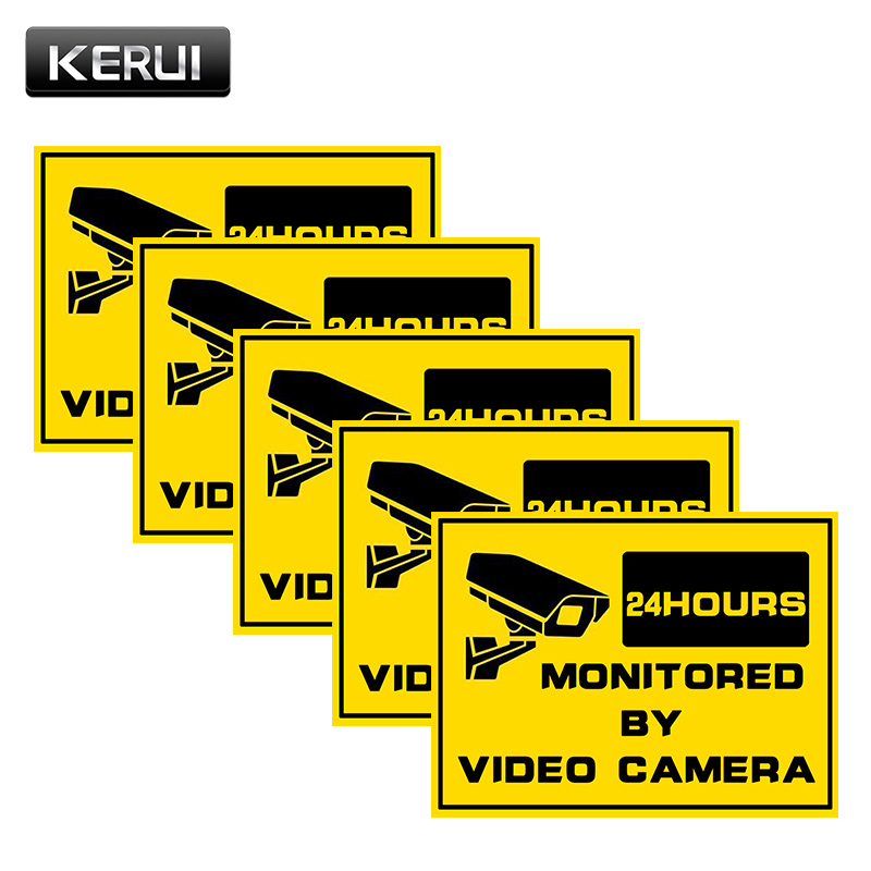 KERUI 5 Pieces Surveillance Warning Sticker Monitoring Security Warning Label for IP Camera Fake Camera CCTV Alert Sticker