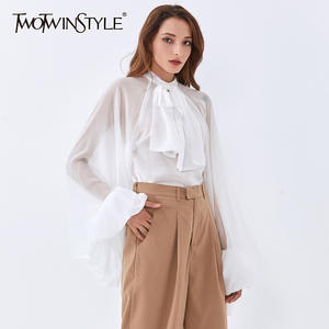 TWOTWINSTYLE Leopard Patchwork Ruffle Women's Blouse Shirt Lantern Long Sleeve Loose Female Vitntage Shirts 2020 Fashion New