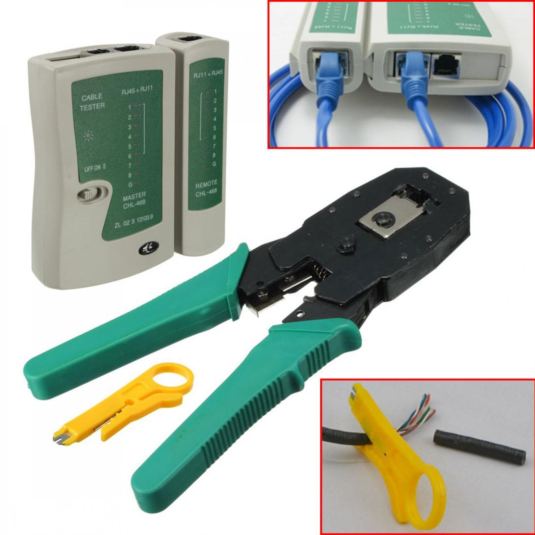 RJ45 RJ11 RJ12 CAT5 LAN Network Tools Set Ethernet Cable Tester Plier Stripper Network Cable Crimper Crimping Tool