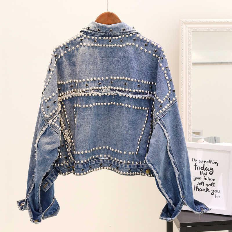 14 Gaya Tangan Bertabur Keling Denim Jaket Pendek Longgar Jaket Wanita Berkualitas Tinggi Jaket Jeans Mantel Dasar Streetwear