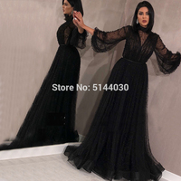 Dubai Muslim Black Peach Pearls Beach Tulle Evening Dresses 2019 Latest Design Long Sleeves Sexy Prom Evening Party Gowns
