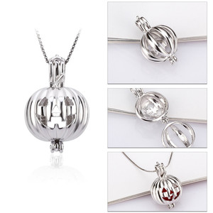 Image 3 - CLUCI 3pcs Silver Scary Pumpkin Design Pendant for Halloween 925 Sterling Silver Pearl Locket Cage Pendant SC114SB