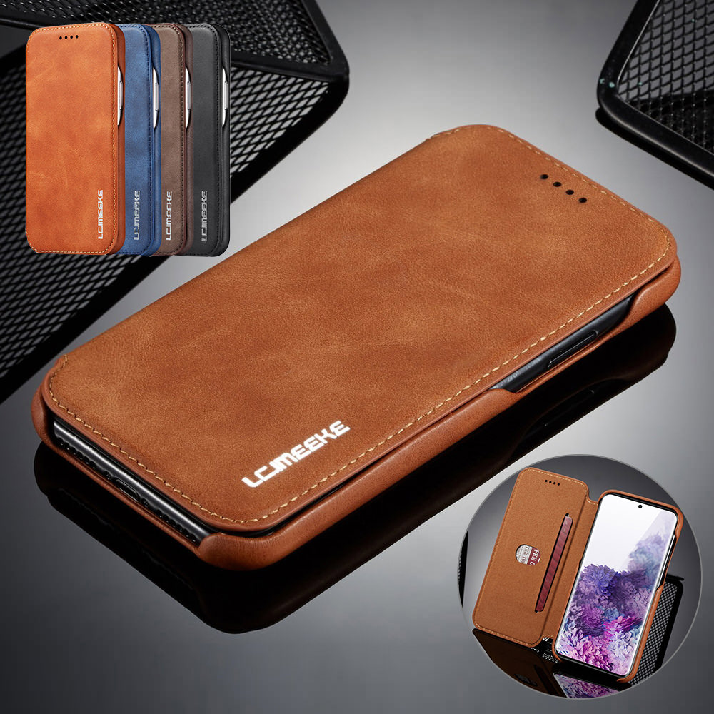 Original Leather Phone Case For Samsung S20 Ultra S10 S9 Plus S10E S8 S7 Edge Note 10 9 8 Ultra Thin Flip Card Holder 360 Cover