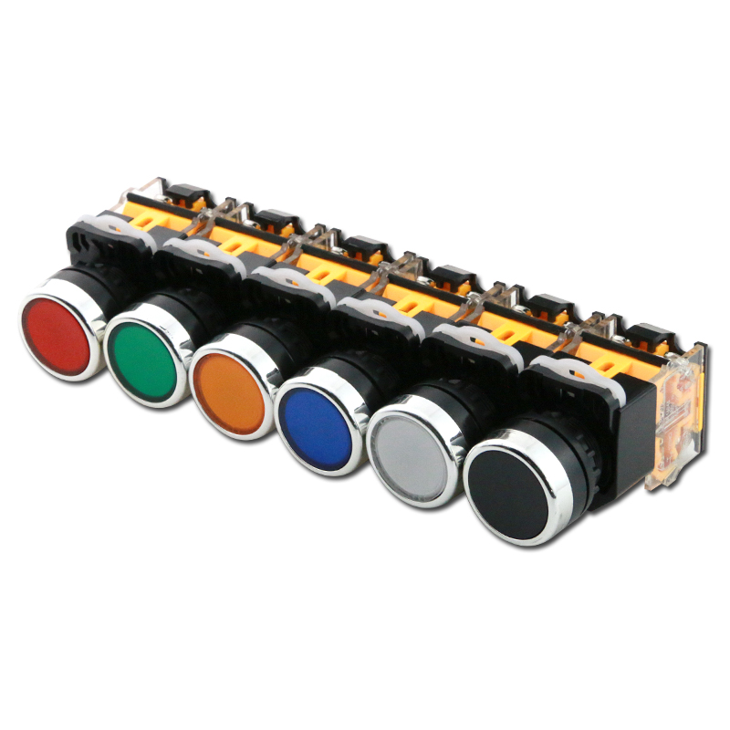 ON-OFF Momentary/Latching Push Button Switch 22mm 4 Screws Circular Small Size Flat Round Panel Cutout LA38-11BN LA38-11BNZS