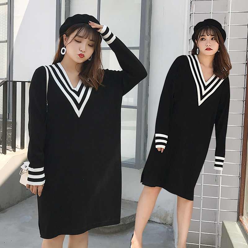 Large Size Dress Large GIRL'S Straight-Cut Loose-Fit V-neck Dress 200 Of Fat Mm Autumn And Winter Long Sleeve Sweater Dress 767
