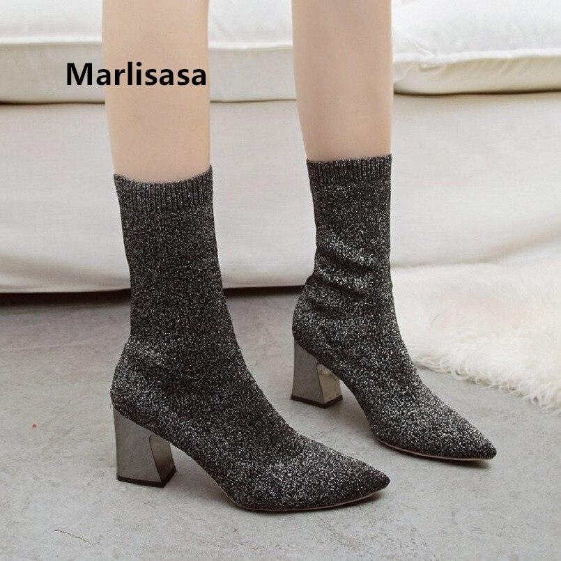 Marlisasa Frauen Mode Beige Komfortable Herbst High Heel Stiefel Weibliche Kühle Schwarz Winter Stiefel Grau Stiefel Frauen Stiefel F7011