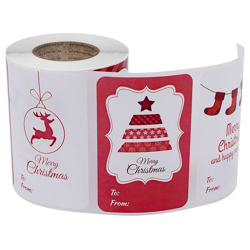 250Pcs/Roll Sticker Christmas Decoration Gift Series Sticker Label Seal Kraft Paper Design for Gifts