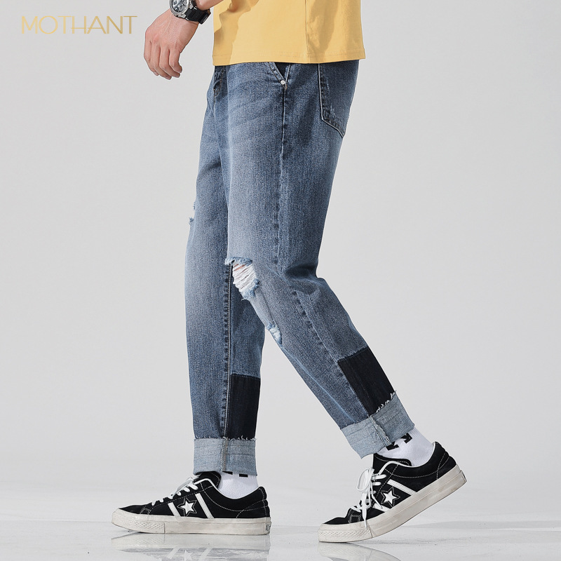 Original New 9 Points Harlan Jeans Male Hole Spell Color Loose Feet Foot Loose Japanese Harem Pants Men Tide Brand