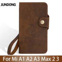 Flip Phone Case For Xiaomi Mi A1 A2 Lite A3 lite For Max 2 3 Mix 2s 3 Poco F1 Y3 Case Crazy horse skin Cover