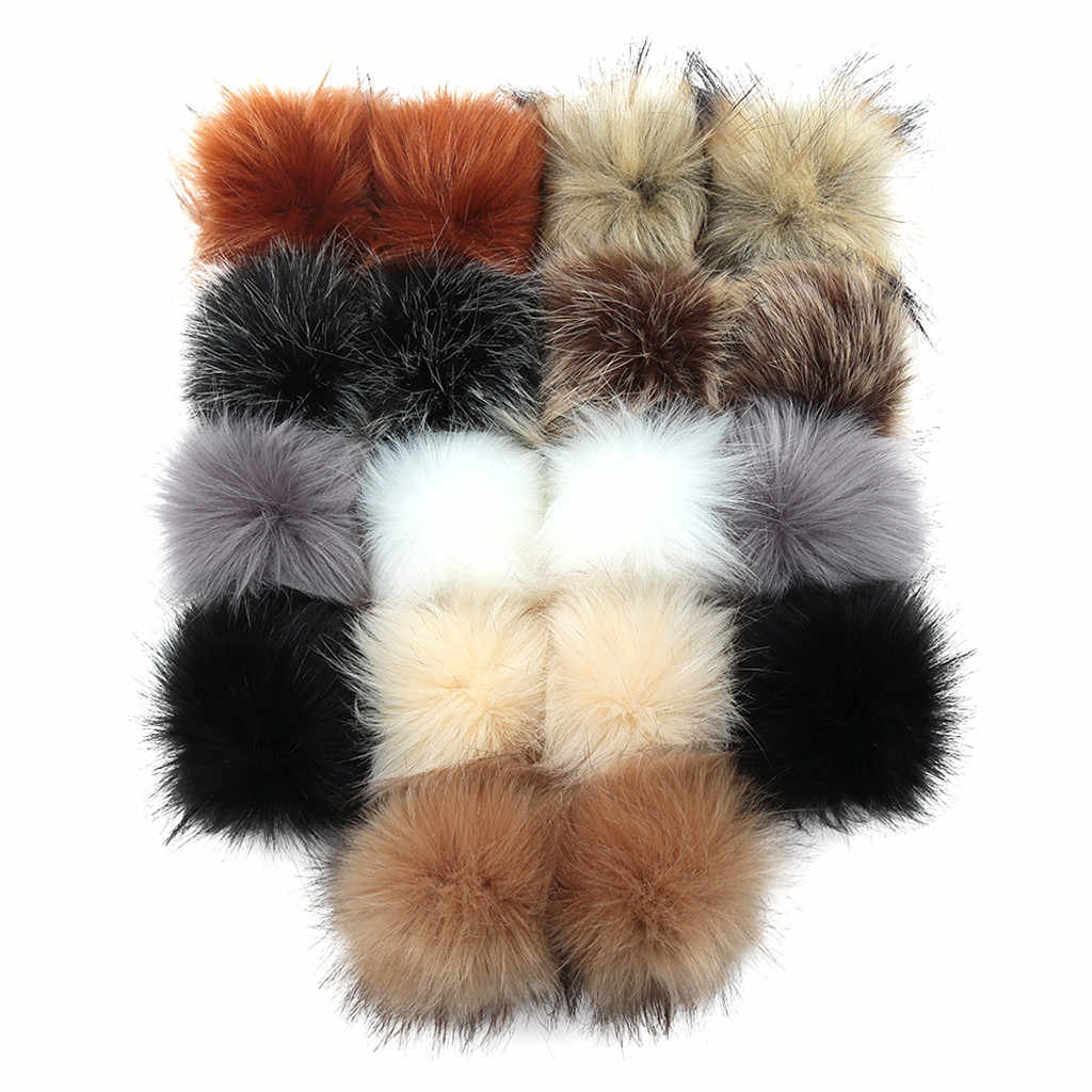 multi Colors 18 Pcs Pompons Faux Fur fashionable cute DIY hair ball with Elastic Loop for Hats Keychains Scarves Gloves Bags