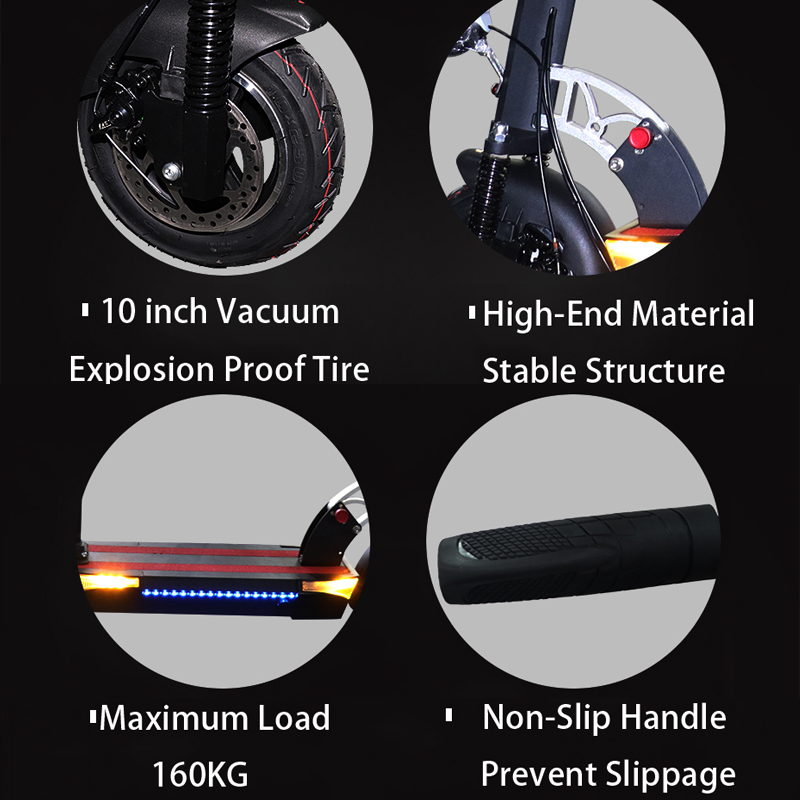 500W 48V 10inch Electric Scooter With Optional Battery for Long Distance 5