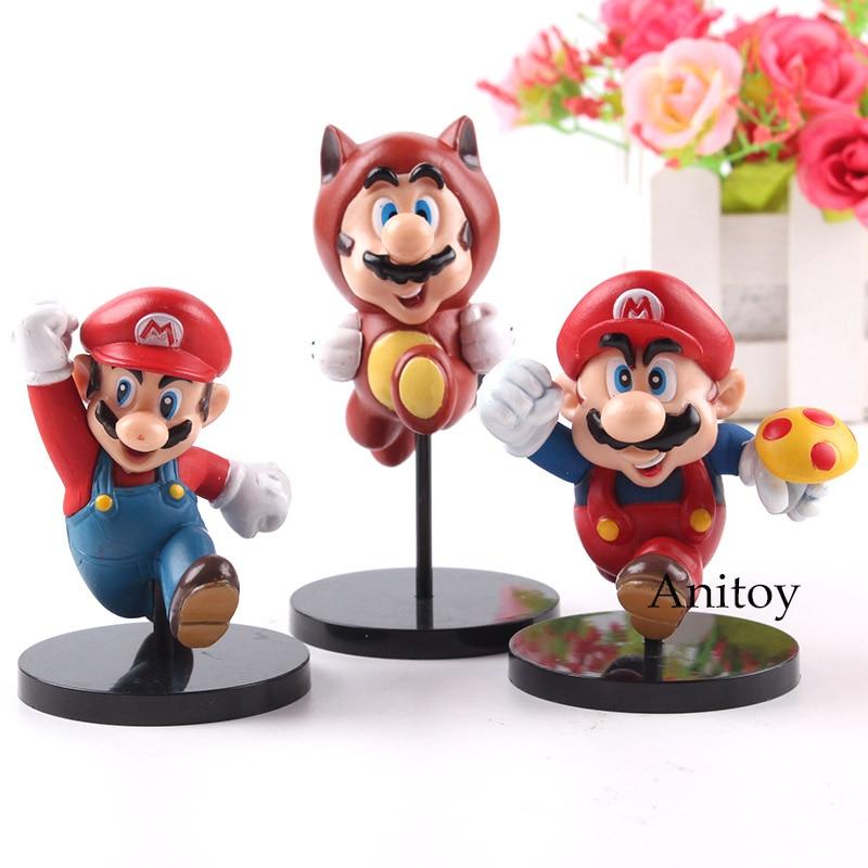 Mario Bros Wii Mini Mario Figures PVC Action Figures MEDICOM TOY Ultra Detail Figure Collection Model Toys Kids 3pcs/set 1