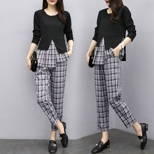 Plaid Stitching Two Piece Set Clothes For Women outfits top and wide pant suits matching Plus Size 3xl 4xl 5xl Womens Suit