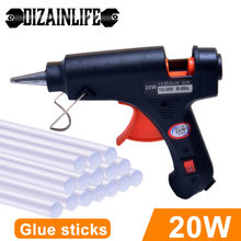20w quente melt pistola de cola com 7mm cola varas mini armas industriais temperatura calor thermo ferramenta reparo elétrico