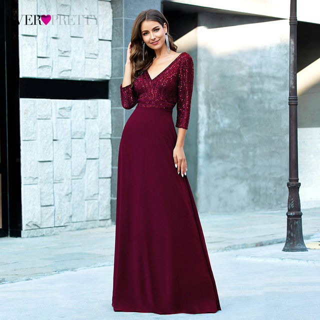 Sexy Evening Dresses Ever Pretty EP00751DG Sequined 3/4 Sleeve Double V-Neck A-Line Sparkle Ladies Party Gowns Robe De Soiree 3