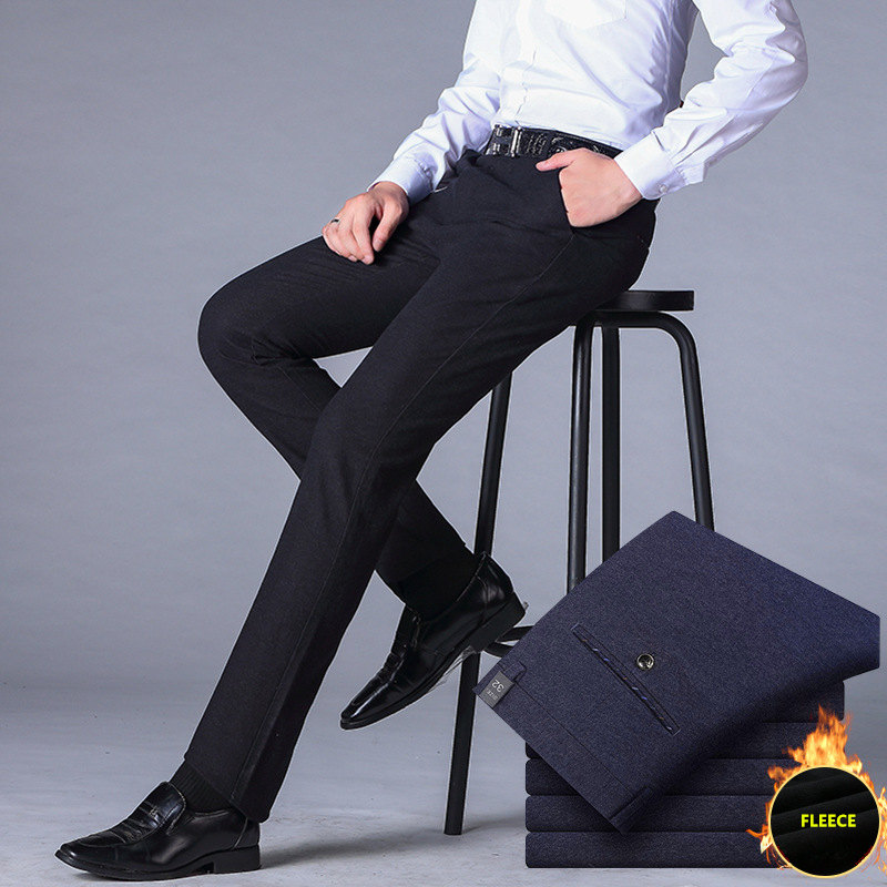 Mens Slim Suit Pants Warm Fleece Men Wedding Dress Straight Business Office Trousers Mens Winter Velvet Formal Pants Plus Size