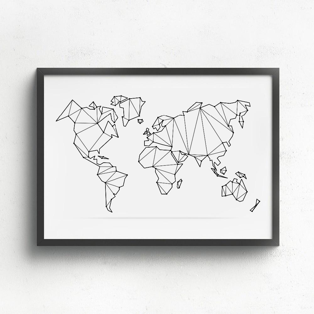 Абстрактная карта мира, холст, Художественная печать, настенные плакаты, Геометрическая низкая поли карта мира, Картина на холсте, украшени...