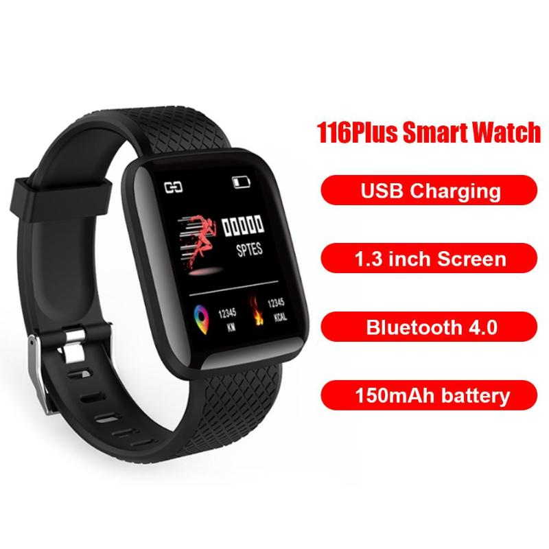 116 Plus 1.3 inch TFT Screen Smart Watches Multi-function Sports Smart Bracelet Watch Heart Rate Monitor Support for Android iOS