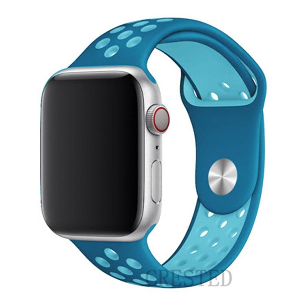 Спортивный ремешок для apple watch band 44 мм/40 мм apple watch 5 4 3 band iwatch band 5 42 мм/38 мм correa браслет ремень аксессуары для часов - Цвет ремешка: blue light blue 19