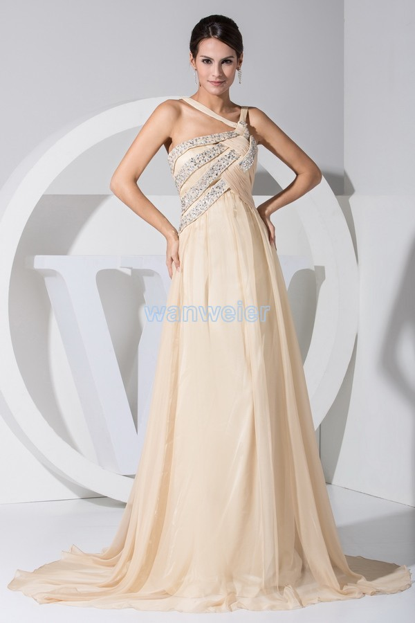 Free Shipping Hot Sale New Design Halter Sex Beading Long Custom Color/size Evening Gown Chiffon Small Train Women Evening Dress