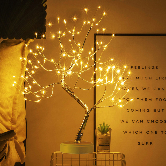 LED Tabletop Bonsai Tree Light Touch Switch DIY Artificial Light Tree Lamp Decoration Festival Holiday Battery/USB Operated D30 3