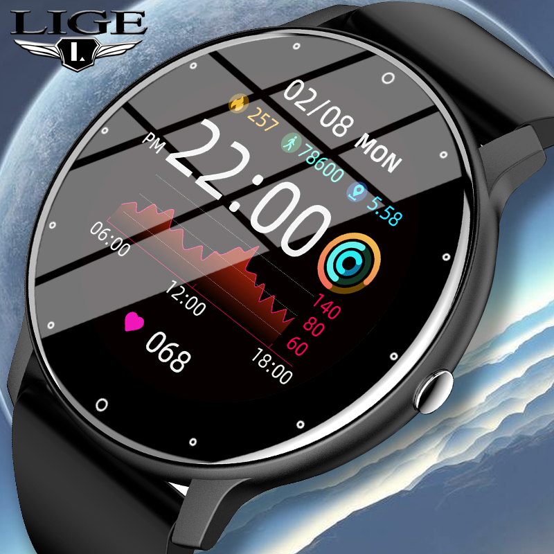 LIGE 2021 New Smart Watch Men Full Touch Screen Sport Fitness Watch IP67 Waterproof Bluetooth Smartwatch Men For Xiaomi Huawei