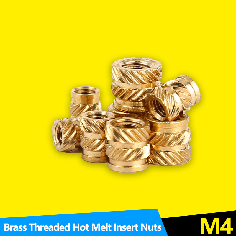 Thread Brass Knurled Inserts Nut Heat Set Insert Nuts Embed Parts Female Pressed Fit into Holes for 3D Printing M3 M4 50Pcs