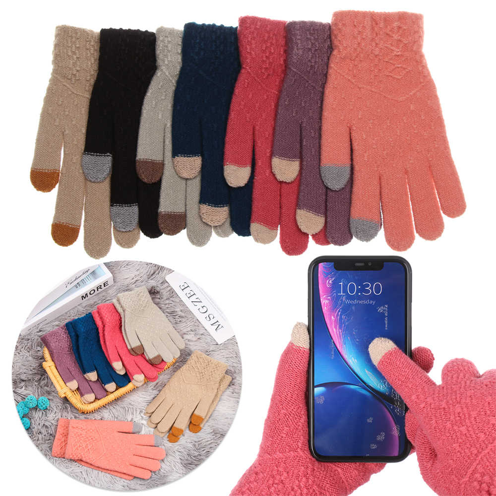 New Winter Knitted Gloves Women Men Full Finger Touch Screen Mittens Thicken Warm Soft Stretch Gloves Keep Finger Warm Gloves