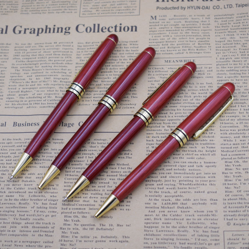 (12 Pieces/Lot) Wood Pens Wholesale 0.5 mm Black Ink Wooden Writing Ballpoint Pen Stationary Office School Supplies Joy Corner-in Ballpoint Pens from Office & School Supplies