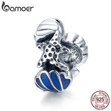 bamoer Shell with Starfish Beads 925 Sterling Silver Ocean Enamel Charm for Original Silver Bracelet or Bangle Jewelry SCC1536