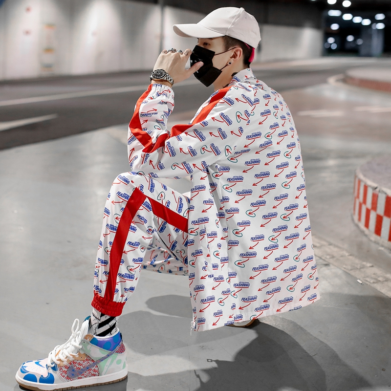 Men's Sets Hip Hop Printed Jacket And Jogging Cargo Pants Streetwear 2 Pieces Sets Fashion Spring Autumn Tracksuit Men Women
