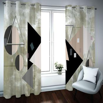 Sheer Curtains Window Blackout Curtain Living Room Bedroom Geometric Photo Drapes Ready Made Finished Drapes