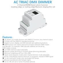 Dmx512 led dimmer ac 220 v 230 v 110 v 2 canais pode ser escurecido triac dmx controlador dim ferroviário lâmpada luz triac dimmer interruptor S1-DR