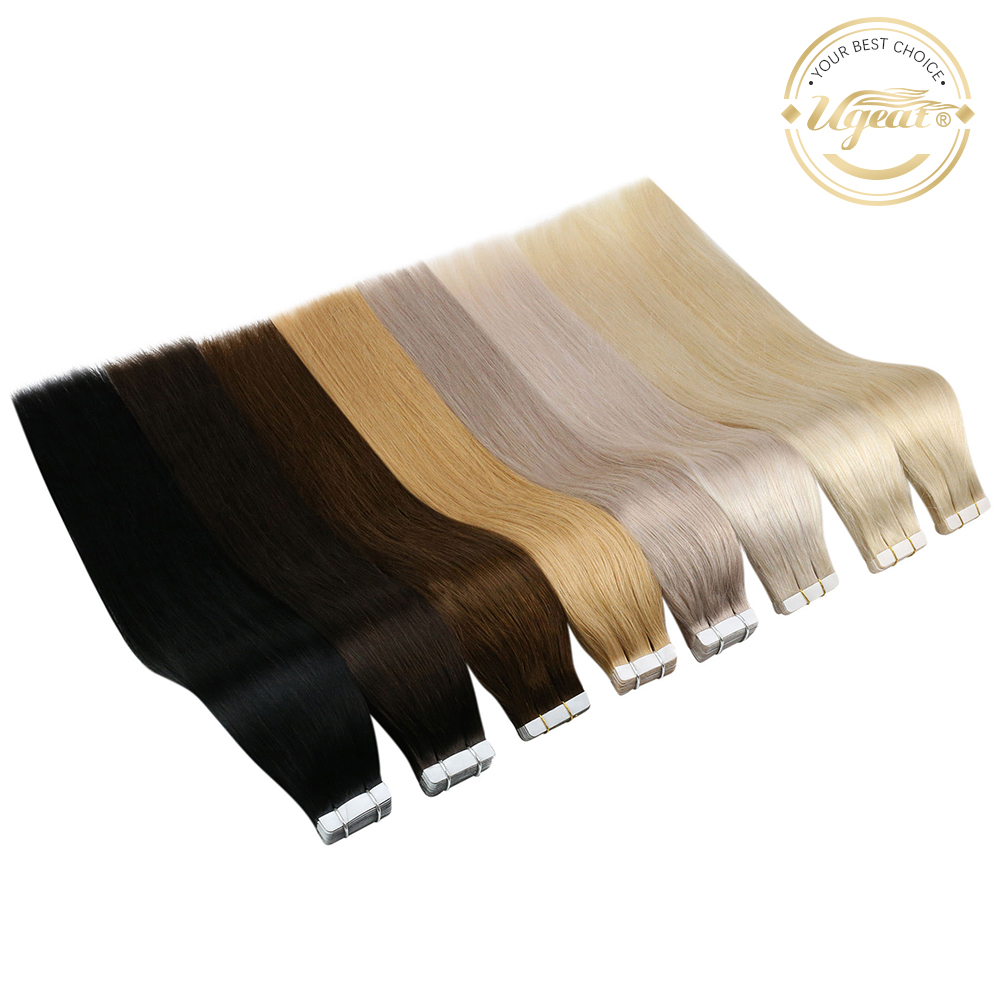 [Free Tapes] Ugeat Tape in Human Hair Extensions Real Brazilian Hair 10P/20P/40P Remy Straight Double Sided Tape Hair 2.5g/P