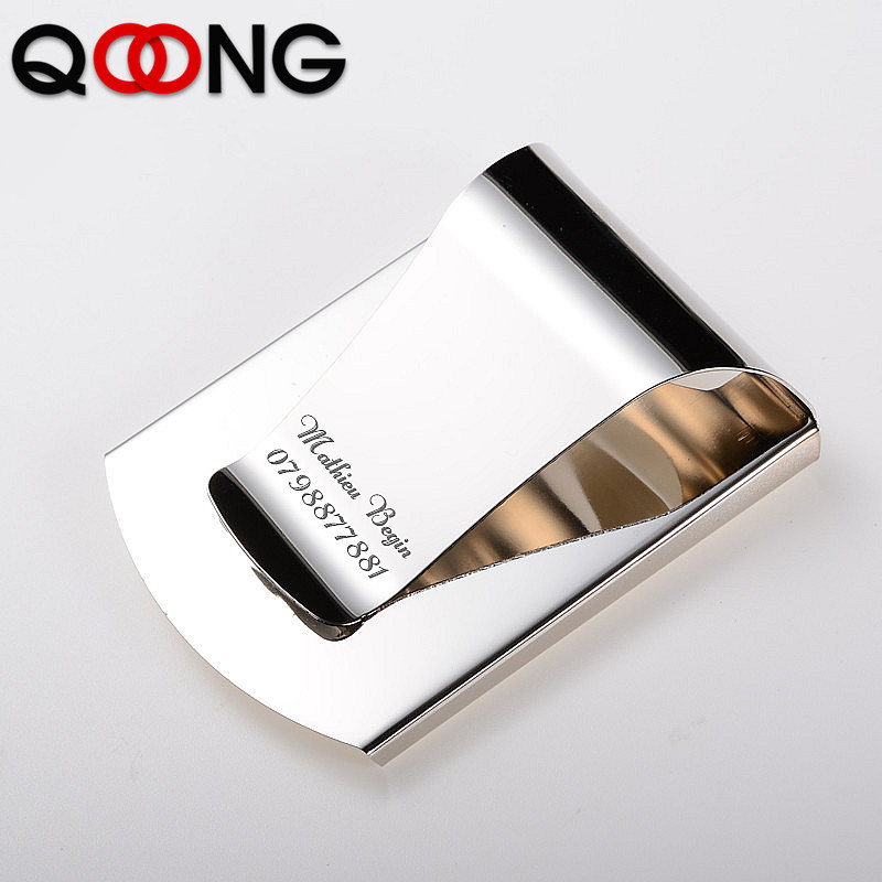 QOONG 2019 Custom Lettering 3 Color Slim Pocket Money Cash Clip Clamp Double Sided Credit Card Holder Bottle Opener QZ40-006