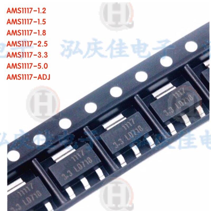 70 pces AMS1117-1.2V/1.5v/1.8v/2.5v/3.3v/5.0v/adj 7 valores cada 10 pces regulador de tensão kit