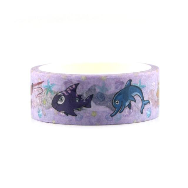 2 pièces/lot organisme marin Hipster adhésif papier couleur journal main compte décoration papeterie adhésif Glassine bande AL2996