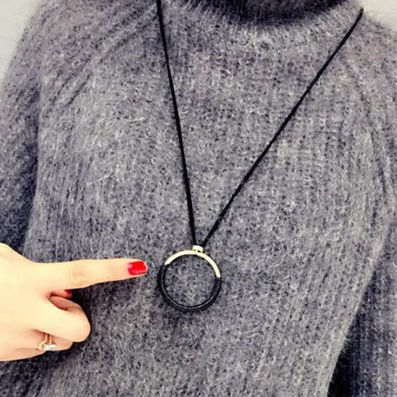 Trendy Big Circle Pendant Necklace Women Ladies Leather Rope Sweater Chain All match Simple Necklace Fashion Jewelry Gift in Pendant Necklaces from Jewelry Accessories