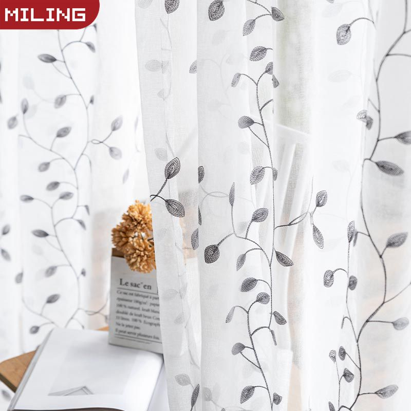 Embroidered Sheer Curtains For Living room Tulle Curtain for Bedroom Window Kitchen Screening Voile Curtains Drapes Customed image