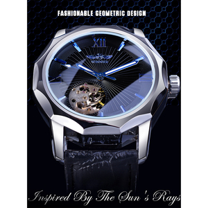 Image 2 - Winner Blue Ocean Geometry Design Transparent Skeleton Dial Mens Watch Top Brand Luxury Automatic Fashion Mechanical Watch Clock