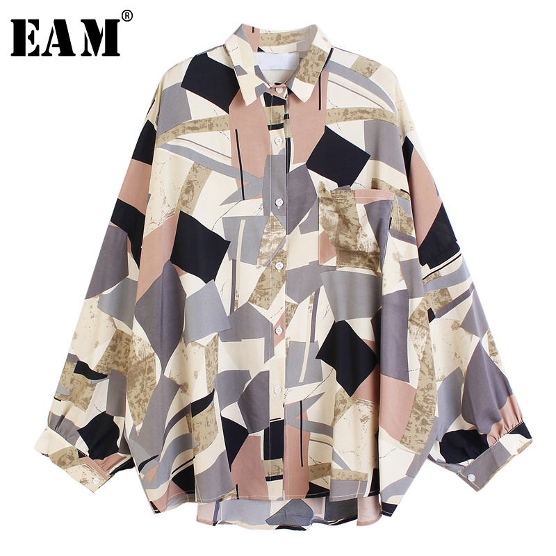 [EAM] Women Blue Pattern Printed Big Size Blouse New Lapel Long Sleeve Loose Fit Shirt Fashion Tide Spring Summer 2020 1U400