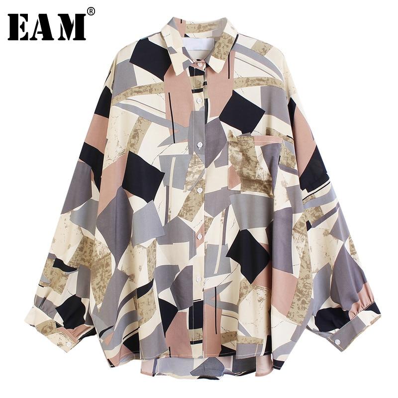 [EAM] Frauen Blau Muster Gedruckt Großen Größe Bluse Neue Revers Lange Hülse Lose Fit Shirt Mode Flut Frühjahr sommer 2021 1U400