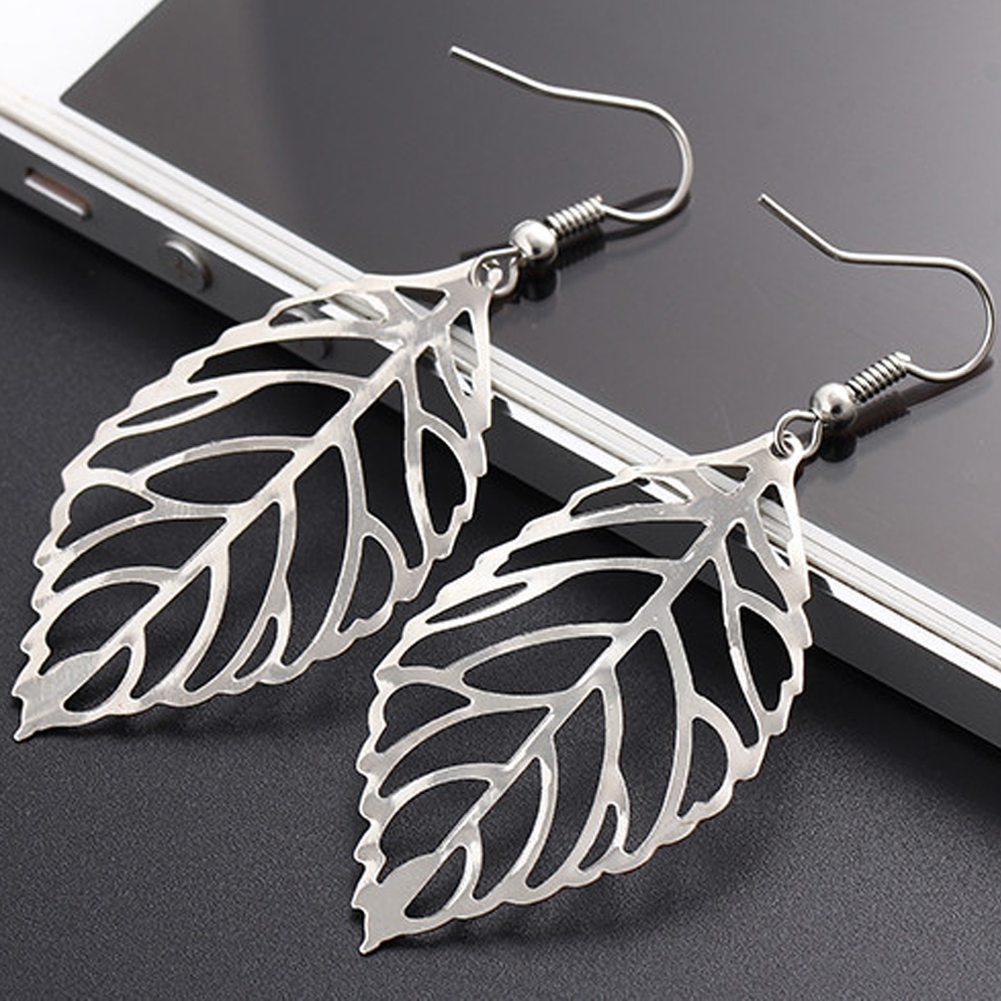 Hot Pendientes Mujer Hot Fashion Wholesale Jewelry Hollow Metal Leaves Dangling Long Statement Drop Earrings For Women Bijoux