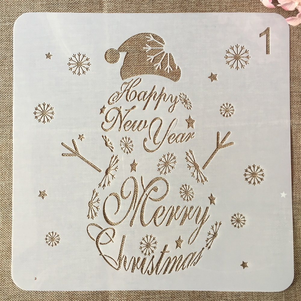 1Pcs 30*30cm Snowman Merry Christmas New Year DIY Layering Stencils Painting Scrapbook Coloring Embossing Decorative Template