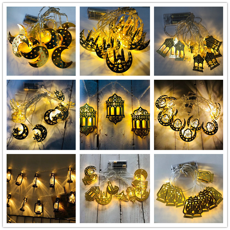 Aid Mubarak Decoration Crescent Moons And Stars Ornamental Eid Decorating String Lights Ramadan Party Home Decoration 2020