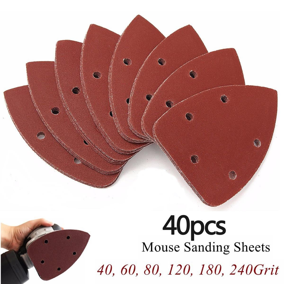40pcs 140mmx90mm 40-240grit Mouse Sanding Sheets Paper Grinding Pad Polishing Disc Fit Black & Decker P Alm Sander